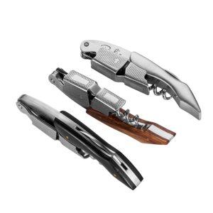 Die 3 Ausführungen des Kellnermessers: Edelstahl pur, Holzgriff schwarz und Holzgriff natur